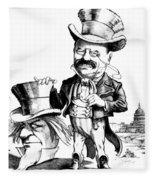 Teddy Roosevelt Cartoon Fleece Blanket