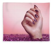 Woman Hand With Purple Nail Polish Fleece Blanket
