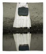 Woman With Suitcase Fleece Blanket