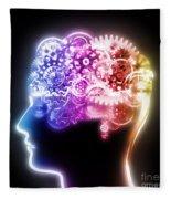 Brain Design By Cogs And Gears Fleece Blanket