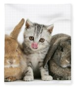 Kitten And Rabbits Fleece Blanket