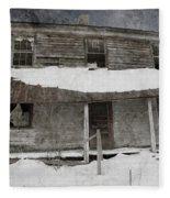 Snowy Abandoned Homestead Porch Fleece Blanket