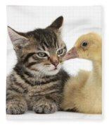 Tabby Kitten With Yellow Gosling Fleece Blanket