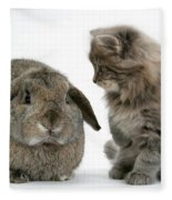 Kitten And Rabbit Fleece Blanket