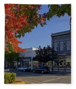 5th And G Street In Grants Pass With Text Fleece Blanket