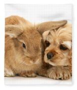 Cocker Spaniel And Rabbit Fleece Blanket