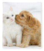 Kitten And Puppy Fleece Blanket
