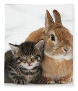Rabbit And Kitten Fleece Blanket