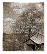 Rustic Hillside Barn Fleece Blanket