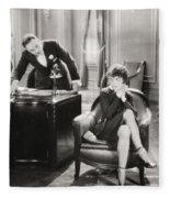 Silent Film Still: Offices Fleece Blanket