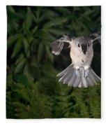 Tufted Titmouse In Flight Fleece Blanket