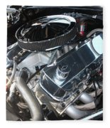 67 Black Camaro Ss 396 Engine-8033 Fleece Blanket