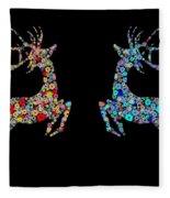 Reindeer Design By Snowflakes Fleece Blanket