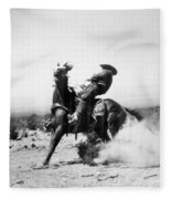 Silent Film Still: Western Fleece Blanket