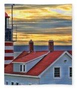 West Quoddy Head Lighthouse 3822 Fleece Blanket