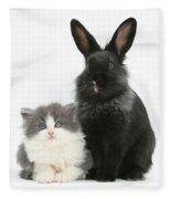 Kitten And Rabbit Fleece Blanket