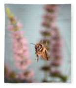 Honey Bee In Flight Fleece Blanket