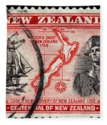 old New Zealand postage stamp Fleece Blanket