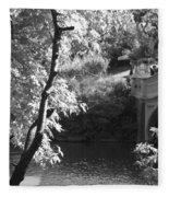 Bow Bridge In Black And White Fleece Blanket