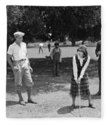 Silent Film Still: Golf Fleece Blanket