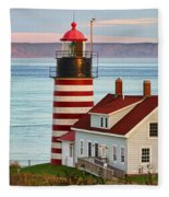 West Quoddy Head Lighthouse Fleece Blanket