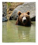 A Bear's Hot Tub Fleece Blanket