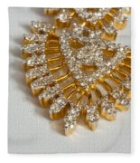 A Beautiful Gold And Diamond Pendant On A White Background Fleece Blanket