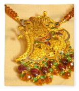 A Beautiful Intricately Carved Gold Pendant Hanging From A Semi-precious Stone Chain Fleece Blanket