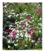 A Bed Of Beautiful Different Color Flowers Fleece Blanket
