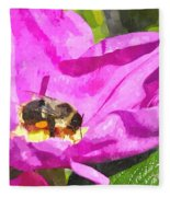A Bee In A Rose Brpwc Fleece Blanket