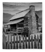 A Black And White Photograph Of An Appalachian Mountain Cabin Fleece Blanket