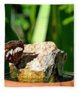 A Butterfly Enjoys A Drink Fleece Blanket