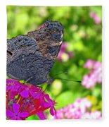 A Butterfly On The Pink Flower Fleece Blanket