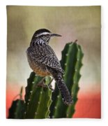 A Cactus Wren  Fleece Blanket