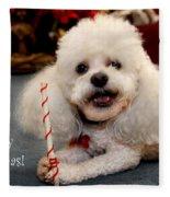 A Candycane For Puppy Fleece Blanket