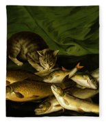 A Cat With Trout Perch And Carp On A Ledge Fleece Blanket