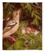 A Chaffinch At Its Nest Fleece Blanket