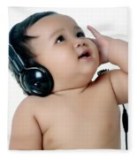 A Chubby Little Girl Listen To Music With Headphones Fleece Blanket