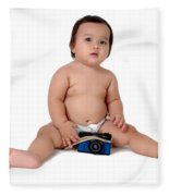 A Chubby Little Girl Sit With A Vintage Camera  Fleece Blanket
