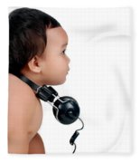 A Chubby Little Girl With Headphones Fleece Blanket