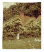 A Cottage At Farringford Isle Of Wight Fleece Blanket