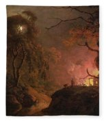 A Cottage On Fire At Night Fleece Blanket