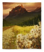 A Country Road With A Mountain In The Fleece Blanket