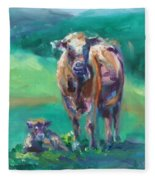 A Cow And Her Calf Fleece Blanket