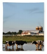 A Cow's Day At The Beach Fleece Blanket