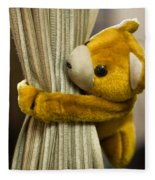 A Curtain With A Cute Stuffed Toy Fleece Blanket