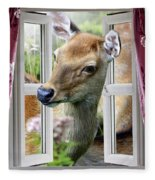 A Deer Enters The House Window. Fleece Blanket