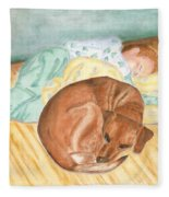 A Dog And Her Boy Fleece Blanket