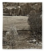 A Far Valley Sepia Fleece Blanket
