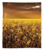 A Field Of Canola With A Rainbow Fleece Blanket